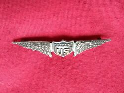 773. Wwi Full Size W. Link Co. Us Military Aviator Badge In Sterling And Gold Wi