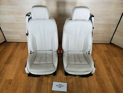 ✅oem Bmw F06 Gran Coupe Front Seats White Perforated Vented Leather Clean