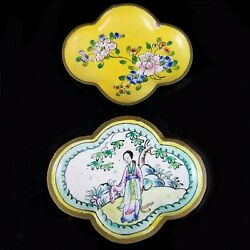 Antique Chinese Enamel Pin Trays Qing Copper Hand Painted Metal Art Dish Woman