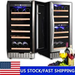30 Bottle Wine Cooler Beer Drinks Fridge Led Display Touch Control Dual Zone Usa
