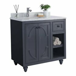 Laviva Odyssey 36 Wood Cabinet With Carrara Marble Countertop In Gray/white