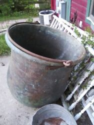 Vintage Copper Cauldron Very Large And Heavy 3 1/2 Ft Tall