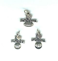 Sport Charms With Open Jump Ring. Sterling Silver.925. Choose Design. Free Ship