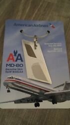 American Airlines Md80 Genuine Skin Tail N582aa June 1991-april 2015 Keychain