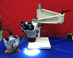 Olympus Sz61 Microscope With Schott Mls Led Stand And Light Mcid 77138