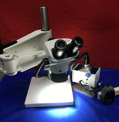 Olympus Sz61 Microscope With Schott Mls Led Stand And Light Mcid 77141