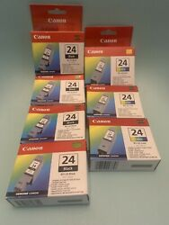 [sealed] Canon Bci-24 Black And Color Ink Cartridges Lot Of 7 New See Description