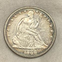 1886 Seated Liberty Half Dollar Low 5866 Mintage Au Old Cleaning And Re-toning