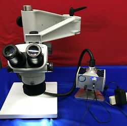 Olympus Sz61 Microscope With Schott Mls Led Stand And Light Mcid 77151