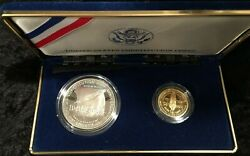 Two Coin Pf Constitution Set W/5 Gold Piece And One Dollar .900 Silver Coin W/coa
