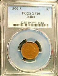 Pcgs 1909-s Xf40 Indian Head Cent