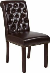 Hercules Series Brown Leathersoft Parsons Chair W/rolled Back, Accent Nail Trim
