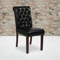 Hercules Series Black Leathersoft Parsons Chair W/rolled Back, Accent Nail Trim