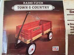 New In Box Vintage 1980s Radio Flyer Red Wagon W/ Wood Sides Town And Country