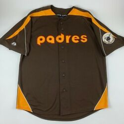 San Diego Padres Mlb Brown Gold Majestic Cooperstown Jersey Mens Large