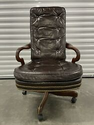 Vintage Hickory Chair Co. Leather Gooseneck Wood Office Chair Armchair W/ Wheels