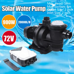 1.2hp Brushless Water Pump Solar Water Pump For Fountain Pool W/removable Filter