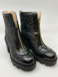 Used Quilted Boots Women 24.5cm Black Color With Box Storage Bag