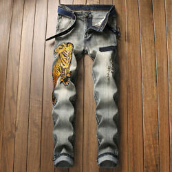 Menandlsquos Tiger Embroidery Jeans Stretch Slim Fit Jeans Destroyed Ripped Denim Pants
