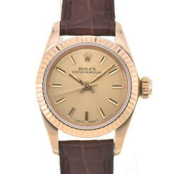 Rolex Oyster Perpetual 67198 K18yg/ Leather Automatic Ladies Watch S104723