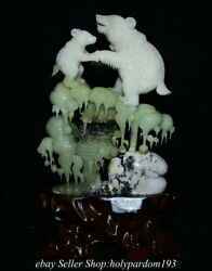19.6 Chinese Natural Xiu Jade Carving Fengshui Ice Bear Hill Statue Sculpture
