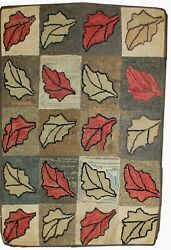 Handmade Antique American Hooked Rug 2.2and039 X 3.4and039 67cm X 103cm 1900s - 1b500