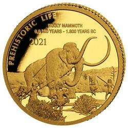 Woolly Mammoth Prehistoric Life 0.5g Gold Coin 100 Francs 2021 Congo