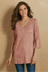 Soft Surroundings Izzy Tunic Faux Suede Belle Sleeves Blush Pink Top Blouse Pxl
