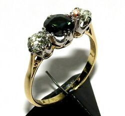 Dazzling Vintage 18ct Yellow Gold Sapphire And Diamond Trilogy Ring Size P 1/2