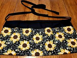 Waitress Apron 3 Pockets Sunflowers And Bumblebees