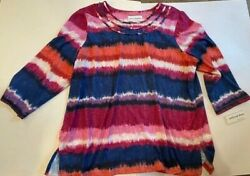 Alfred Dunner Top Size L Large 3/4 Sleeves Colorful Nwt  Top