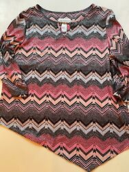 Alfred Dunner Top Size L Large 3/4 Sleeves Dressy Sparkly Nwt  Top