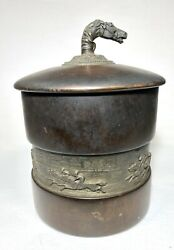 Antique Wood And Bronze Repousse Racehorse Tobacco Humidor Jar Barrel 8 Tall