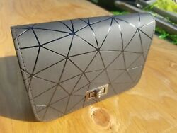 Brand New Modern Black Purse/clutch With Metal Clasp And Detachable Shoulder Strap
