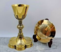 Fine Antique Gothic Chalice And Paten + All Sterling Silver 14k Gold Cross Ahb2