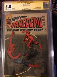 Daredevil The Man Without Fear 16 Cgc Signature Series 5.0 Signed By Stan Lee