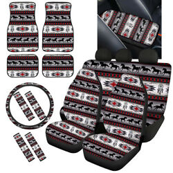 Aztec Horse Car Seat Covers Combo With Floor Mat Armrest Universal Fit For Truck