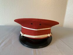 Vintage De Moulin Bros Marching Band Hat Size 7 5/8 Red Black Greenville Il
