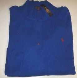 3xlt Royal Blue New Polo Authentic Half Zip Sweater Red Pony Logo
