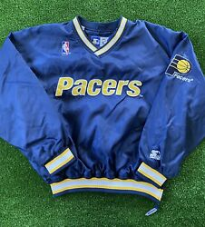 Vintage 90s Nba Starter Indiana Pacers Pullover Windbreaker Jacket Menandrsquos Size Xl