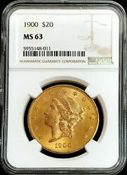 1900 Gold United States 20 Dollar Liberty Head Double Eagle Ngc Mint State 63