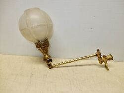 Antique Brass Gas Wall Sconce With Original Glass Shade