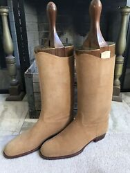 John Lobb Men's Suede Riding Long Boots Entire Lasts And Dust Bags Uk 11 Us 12
