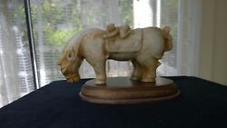 Large Heavy Humorous Antique Jade Statue Horse W/two Boys Rare Early Qing Dy.