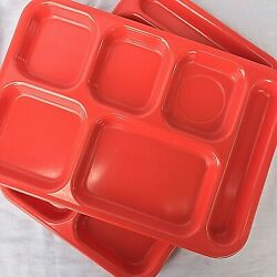 Melamine Lunch Trays Dallas Ware Red Melmac Home School Cafeteria Set 2