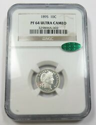 1895-p Ngc Pf64 Cac Ultra Cameo Proof Barber Dime 10c Us Coin Item 28121a