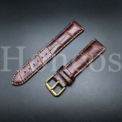 Genuine Leather 18 mm Brown Alligator Watch Band Strap GOLD BUCKLE Fits Michele