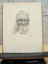 Artist Signed Late 1900's Pencil Drawing Titled Native Californian Dated 1897