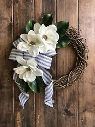 Magnolia Wreath For Front Door Farmhouse Style Boho Rustic Ticking Stripe Floral