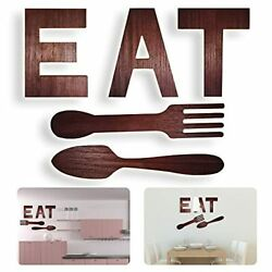 EAT Sign Fork Spoon Kitchen Wall Hanging Decor Rustic Wood EAT Letters Decora...